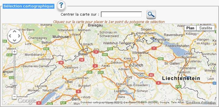 Sélection géographique sur Google Maps