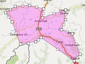 Polygone de sélection autour d'Andermatt