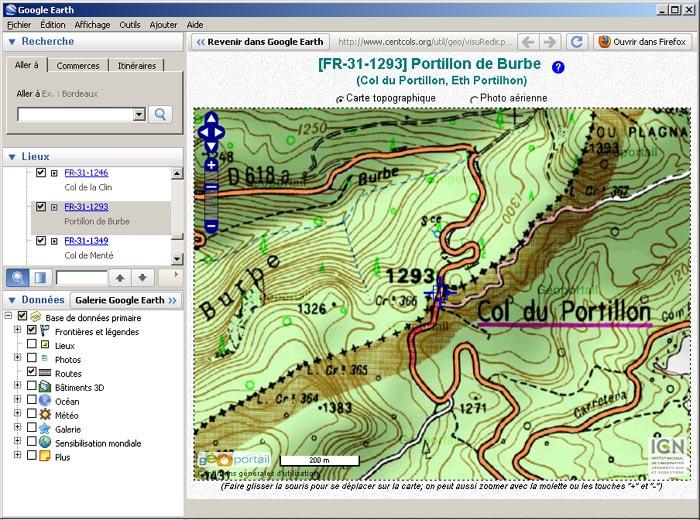 Visualizzatore Geoportale nella finestra di Google Earth