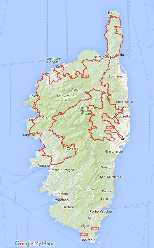 Carte Corse Nord.Cent Cols Dans Le Nord De La Corse Club Des Cent Cols