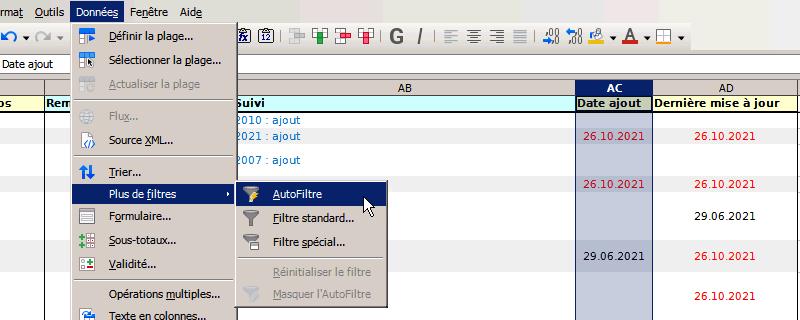 création d'un filtre avec Calc